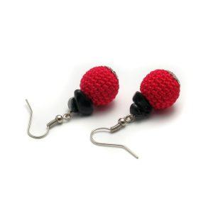 Piros fülbevaló – fekete obszidiánnal